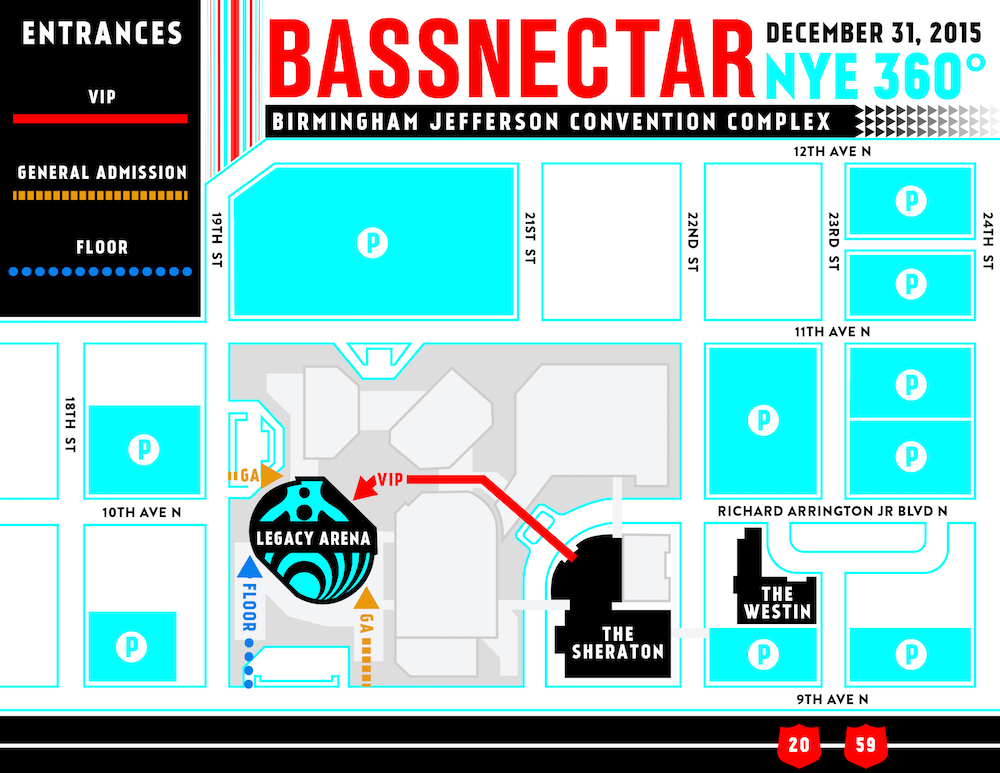 Bassnectar NYE 360 2015 - venue map