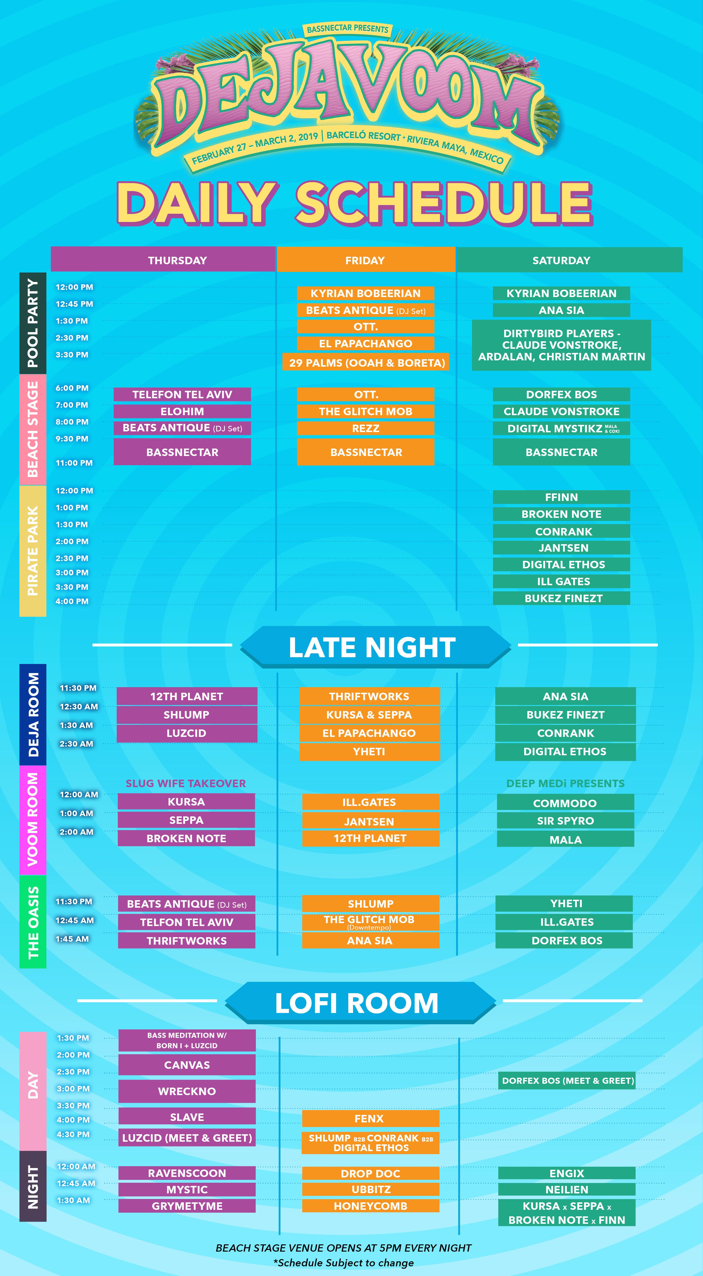 Deja Voom Schedule
